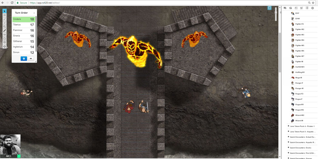 Roll20 Party fighting Fire Elemental