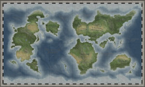 Full fantasy map with labels miniature